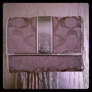 Coach signature print tri fold wallet